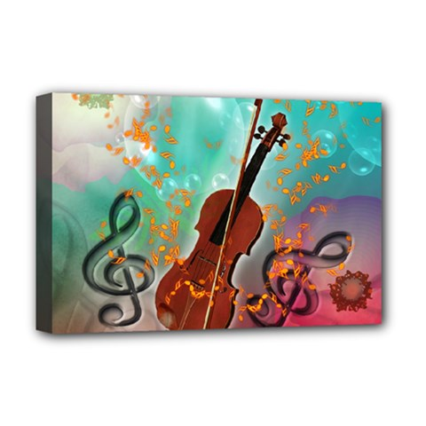 Violin With Violin Bow And Key Notes Deluxe Canvas 18  x 12   by FantasyWorld7