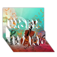 Violin With Violin Bow And Key Notes WORK HARD 3D Greeting Card (7x5)  by FantasyWorld7
