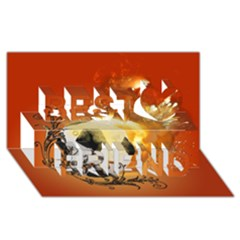 Soccer With Fire And Flame And Floral Elelements Best Friends 3d Greeting Card (8x4)  by FantasyWorld7