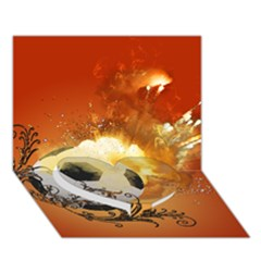 Soccer With Fire And Flame And Floral Elelements Heart Bottom 3d Greeting Card (7x5)  by FantasyWorld7