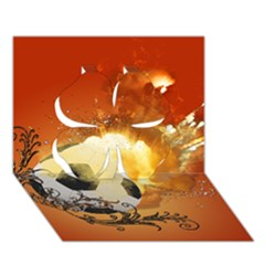 Soccer With Fire And Flame And Floral Elelements Clover 3d Greeting Card (7x5)  by FantasyWorld7