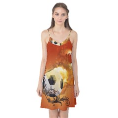 Soccer With Fire And Flame And Floral Elelements Camis Nightgown by FantasyWorld7