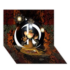Steampunk, Funny Monkey With Clocks And Gears Peace Sign 3d Greeting Card (7x5)  by FantasyWorld7