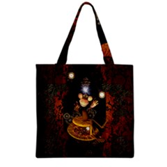 Steampunk, Funny Monkey With Clocks And Gears Grocery Tote Bags by FantasyWorld7
