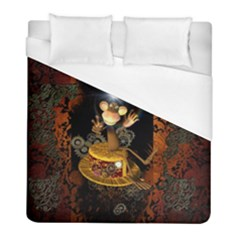 Steampunk, Funny Monkey With Clocks And Gears Duvet Cover Single Side (twin Size) by FantasyWorld7