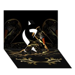 Wonderful Swan In Gold And Black With Floral Elements Ribbon 3D Greeting Card (7x5)  by FantasyWorld7