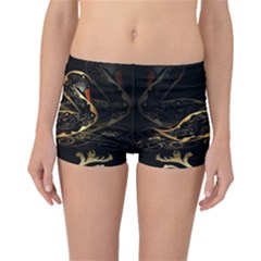 Wonderful Swan In Gold And Black With Floral Elements Boyleg Bikini Bottoms by FantasyWorld7