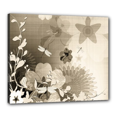 Vintage, Wonderful Flowers With Dragonflies Canvas 24  X 20  by FantasyWorld7