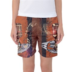 Microphone With Piano And Floral Elements Women s Basketball Shorts by FantasyWorld7
