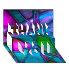 Imposant Abstract Teal Thank You 3d Greeting Card (7x5)  by ImpressiveMoments
