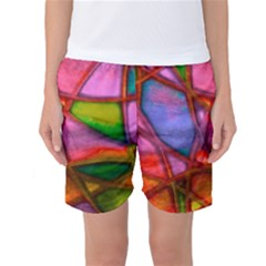 Imposant Abstract Red Women s Basketball Shorts by ImpressiveMoments