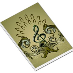 Decorative Clef With Damask In Soft Green Large Memo Pads