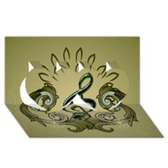 Decorative Clef With Damask In Soft Green Twin Hearts 3d Greeting Card (8x4)  by FantasyWorld7