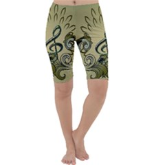 Decorative Clef With Damask In Soft Green Cropped Leggings by FantasyWorld7
