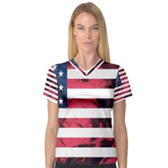 Usa5 Women s V-Neck Sport Mesh Tee by ILoveAmerica