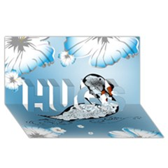 Wonderful Swan Made Of Floral Elements Hugs 3d Greeting Card (8x4)  by FantasyWorld7