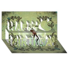 Cute Elf Playing For Christmas Happy Birthday 3D Greeting Card (8x4)