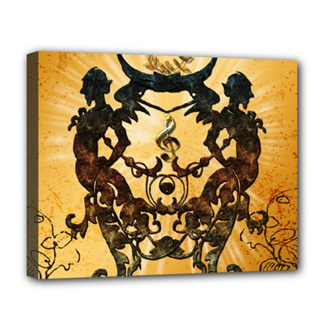 Clef With Awesome Figurative And Floral Elements Deluxe Canvas 20  X 16   by FantasyWorld7