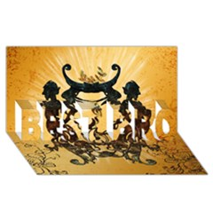 Clef With Awesome Figurative And Floral Elements Best Bro 3d Greeting Card (8x4)  by FantasyWorld7