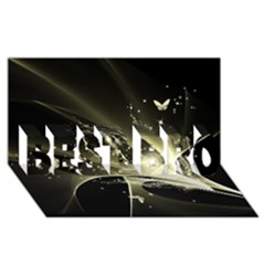 Awesome Glowing Lines With Beautiful Butterflies On Black Background Best Bro 3d Greeting Card (8x4)  by FantasyWorld7