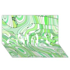 Retro Abstract Green Sorry 3d Greeting Card (8x4)  by ImpressiveMoments