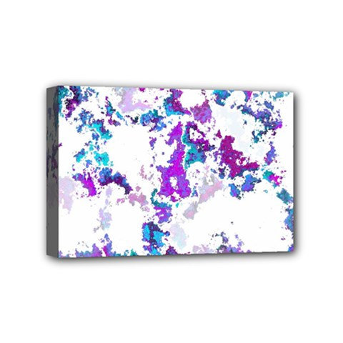 Splatter White Lilac Mini Canvas 6  X 4  by MoreColorsinLife