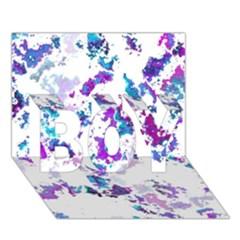 Splatter White Lilac Boy 3d Greeting Card (7x5) by MoreColorsinLife