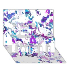 Splatter White Lilac Get Well 3d Greeting Card (7x5)  by MoreColorsinLife