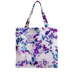 Splatter White Lilac Zipper Grocery Tote Bags by MoreColorsinLife