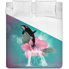 Orca Jumping Out Of A Flower With Waterfalls Duvet Cover Single Side (double Size) by FantasyWorld7