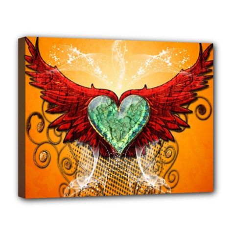 Beautiful Heart Made Of Diamond With Wings And Floral Elements Canvas 14  X 11  by FantasyWorld7