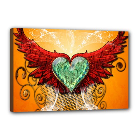 Beautiful Heart Made Of Diamond With Wings And Floral Elements Canvas 18  x 12  by FantasyWorld7