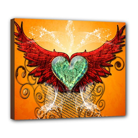 Beautiful Heart Made Of Diamond With Wings And Floral Elements Deluxe Canvas 24  X 20   by FantasyWorld7