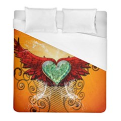 Beautiful Heart Made Of Diamond With Wings And Floral Elements Duvet Cover Single Side (twin Size) by FantasyWorld7