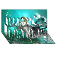 Beautiful Mermaid With  Dolphin With Bubbles And Water Splash Happy Birthday 3d Greeting Card (8x4)  by FantasyWorld7