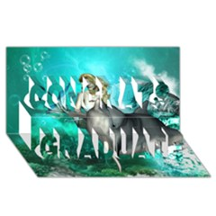Beautiful Mermaid With  Dolphin With Bubbles And Water Splash Congrats Graduate 3d Greeting Card (8x4)  by FantasyWorld7