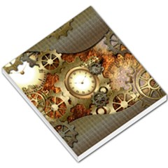 Steampunk, Wonderful Steampunk Design With Clocks And Gears In Golden Desing Small Memo Pads by FantasyWorld7