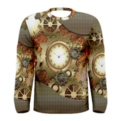 Steampunk, Wonderful Steampunk Design With Clocks And Gears In Golden Desing Men s Long Sleeve T-shirts by FantasyWorld7