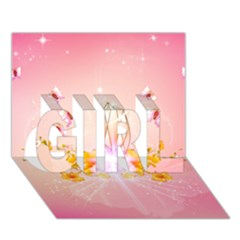Wonderful Flowers With Butterflies And Diamond In Soft Pink Colors Girl 3d Greeting Card (7x5)  by FantasyWorld7