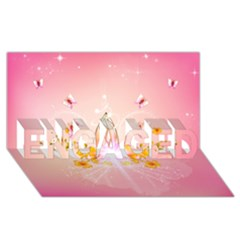 Wonderful Flowers With Butterflies And Diamond In Soft Pink Colors Engaged 3d Greeting Card (8x4)  by FantasyWorld7