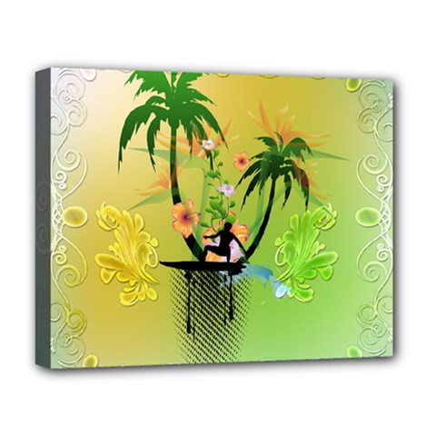 Surfing, Surfboarder With Palm And Flowers And Decorative Floral Elements Deluxe Canvas 20  X 16   by FantasyWorld7