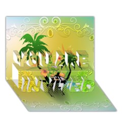 Surfing, Surfboarder With Palm And Flowers And Decorative Floral Elements You Are Invited 3d Greeting Card (7x5)  by FantasyWorld7
