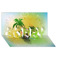 Surfing, Surfboarder With Palm And Flowers And Decorative Floral Elements Sorry 3d Greeting Card (8x4)  by FantasyWorld7