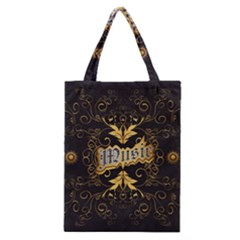 Music The Word With Wonderful Decorative Floral Elements In Gold Classic Tote Bags by FantasyWorld7