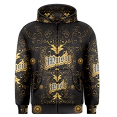 Music The Word With Wonderful Decorative Floral Elements In Gold Men s Zipper Hoodies by FantasyWorld7
