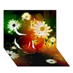 Awesome Flowers In Glowing Lights Clover 3d Greeting Card (7x5)  by FantasyWorld7