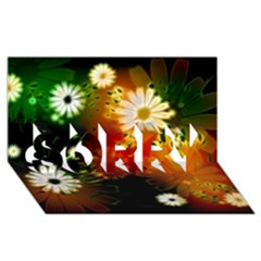 Awesome Flowers In Glowing Lights SORRY 3D Greeting Card (8x4)