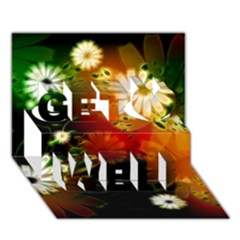 Awesome Flowers In Glowing Lights Get Well 3d Greeting Card (7x5)  by FantasyWorld7