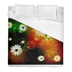 Awesome Flowers In Glowing Lights Duvet Cover Single Side (twin Size) by FantasyWorld7