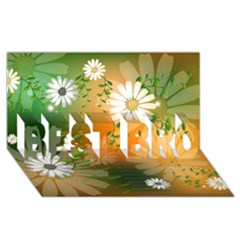 Beautiful Flowers With Leaves On Soft Background Best Bro 3d Greeting Card (8x4)  by FantasyWorld7